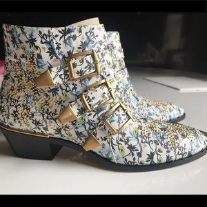 Chloe Floral Multi Susanna Studded Leather Boots